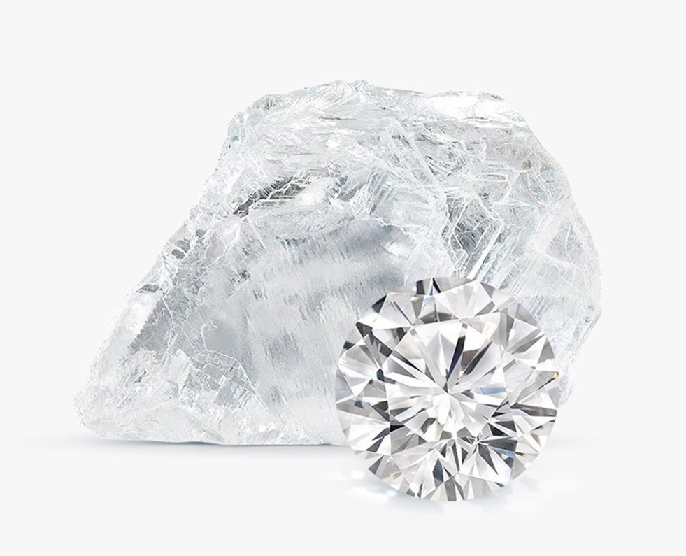 Необработанный алмаз и бриллиант