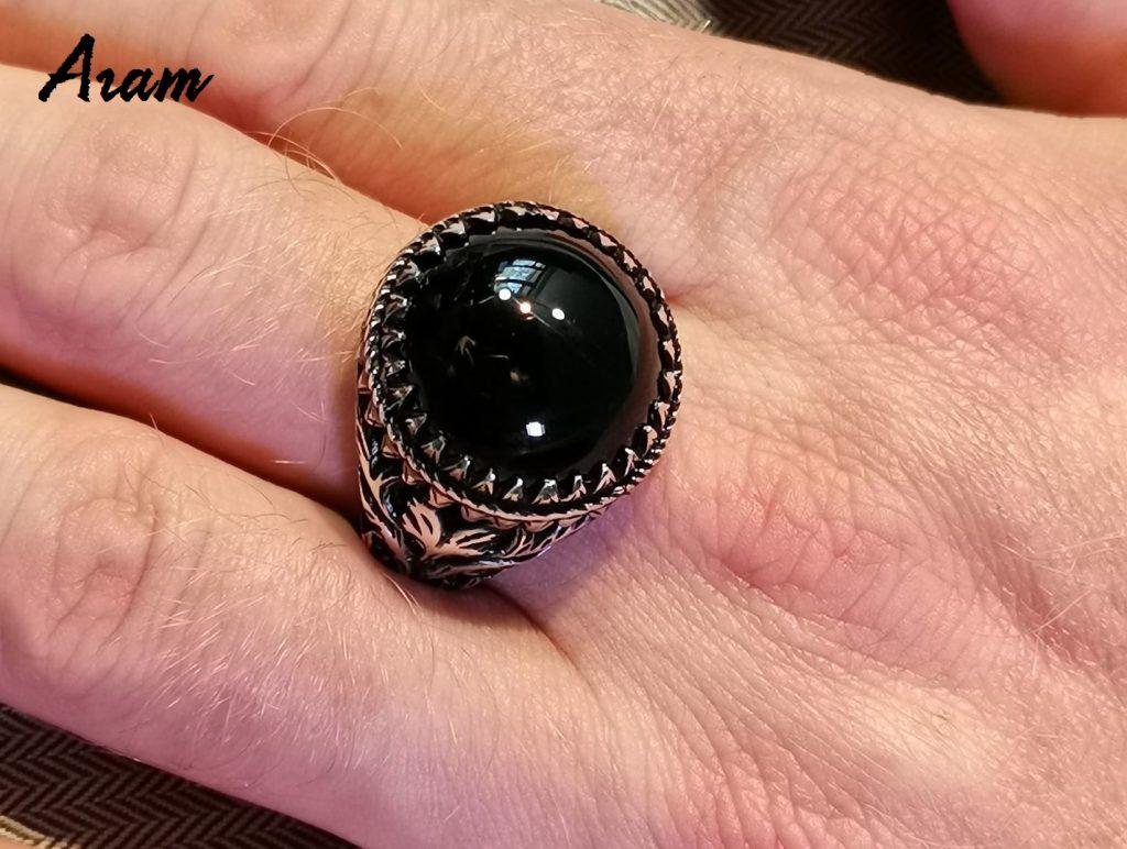 Перстень с агатом мужской