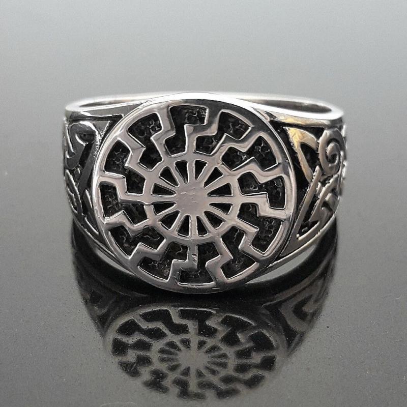 Кольцо мужское с символом Черное солнце