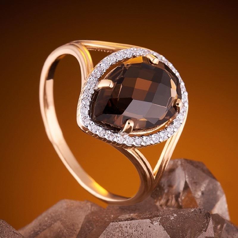 Кольцо с камнем раухтопаз