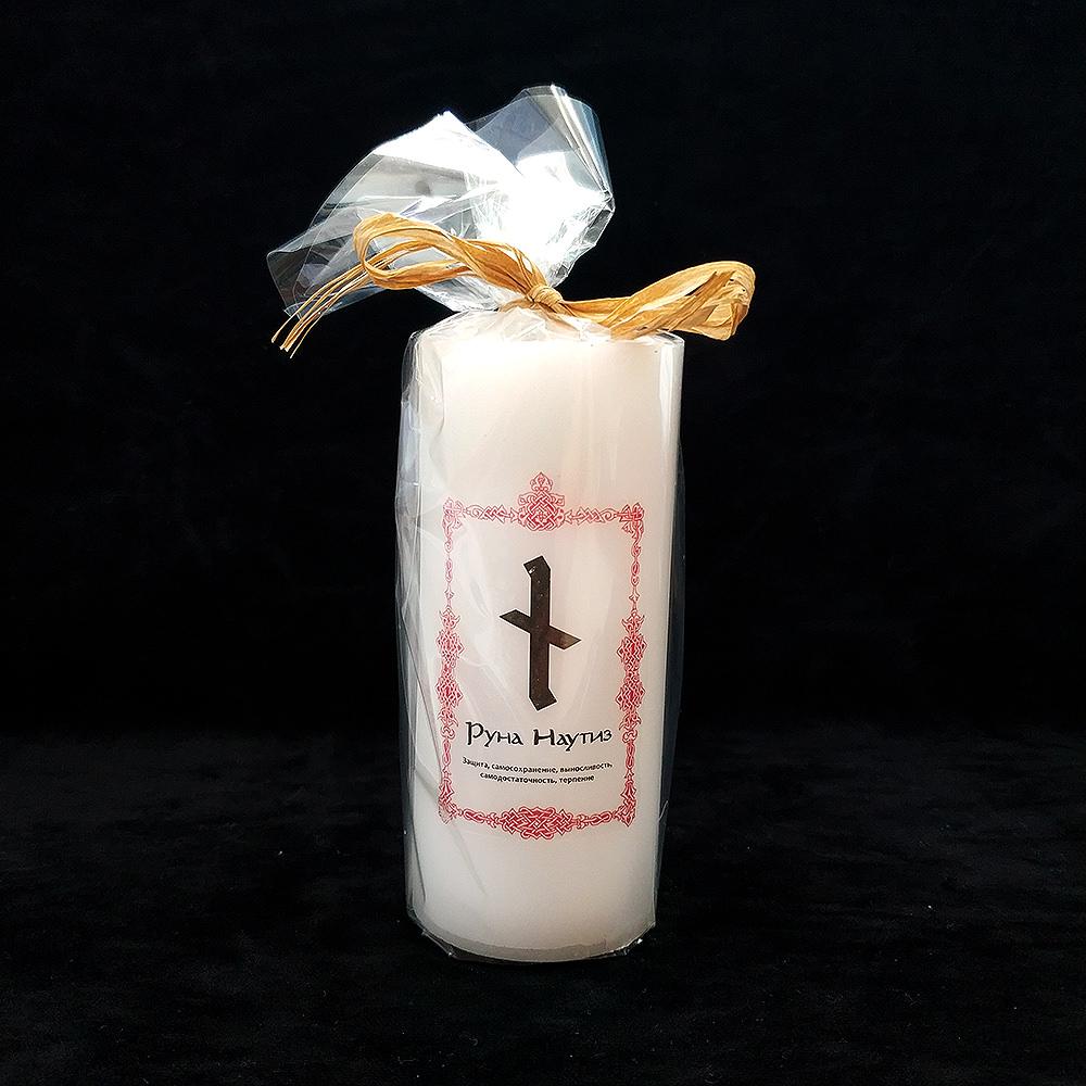 Руна Наутиз на свечи