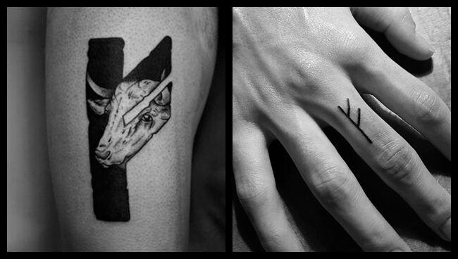 Татуировка с руной Феху